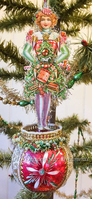 """Amazing 1910 Festive """"Gibson"""" Girl on Fancy Sphere Festooned with Decorated Garland"""