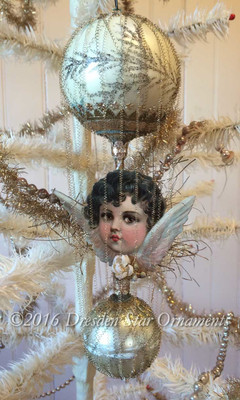 Beautiful Brunette Cherub Angel on Tall Cream, Gold and Silver Double-Balloon