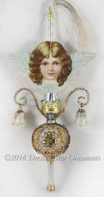Blue-Eyed Cherub Angel on Slender Antique Triple-Indent Glass Topper