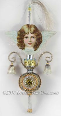 Blue-Eyed Cherub Angel on Slender Antique Triple-Indent Glass Topper