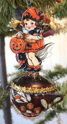 Reserved for Brenda – Little Halloween Girl with Dolly and Pumpkin on Glass Teapot Ornament