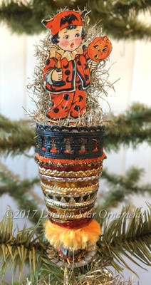 Reserved for Brenda – Boy with Candle and Jack-o'-lantern on Striped Halloween Clip-On Ornament