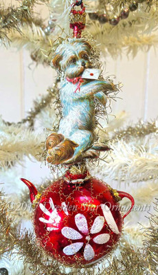 Pup with Valentine On Red Glass Teapot Ornament