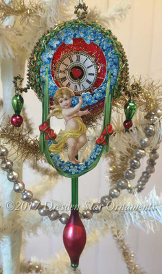 Red Valentine Clock with Forget-Me-Nots and Swinging Glass Pendulum