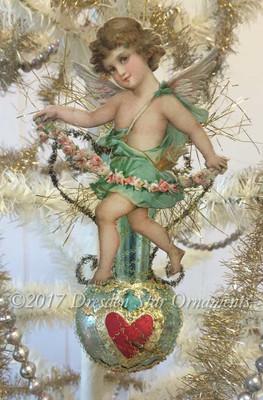 Aqua Angel with Floral Garland on Matching Glass Aqua Vase