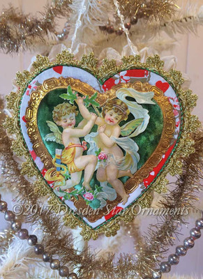 Red and Green Candy Container with Victorian Angels and Rare Valentine Paper