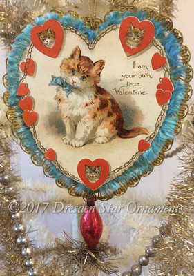 Two-Sided Paper and Lace Valentine with Kitty and Girl in Poppy