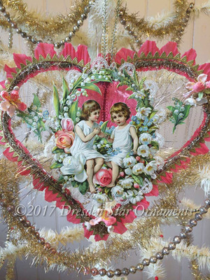 Glorious Large Paper and Tinsel Heart with Little Girls, Lace, and Fabric Flowers