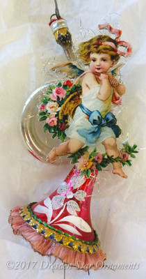 Reserved for Brenda – Angel with Roses on Silver and Red French Horn Ornament