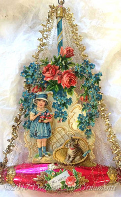 Reserved for Brenda – Girl with Kitty and Roses on Red Valentine Boat Ornament