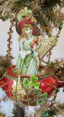 Irish Lass with Golden Harp in Matching Glass Boat with Shamrocks