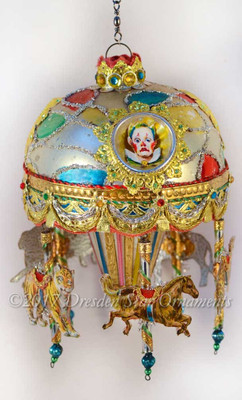 Reserved for Susan – Clown Carousel Ornament with 5 Merry-Go-Round Animals