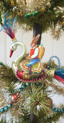 Reserved for Diana – Easter Bunny Riding Glass Swan with the Feather Plumage