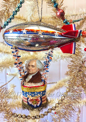 Reserved for Stacy – President Adams riding Patriotic Glass Blimp with Paper Fins and Paper Basket