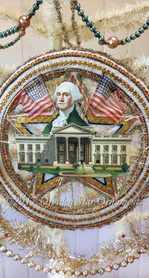 Reserved for Dennis – Washington with  White House on Spectacular Patriotic Circle-Star Ornament