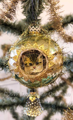Kitten in Pastel Green and White Indent Ornament with Bell