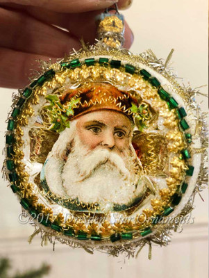 Santa in Frosted Indent Ornament Rimmed in Emerald Green Beads