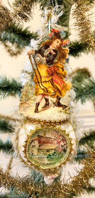 Victorian Lady with Dog On Delicate Frosted Spindle Ornament