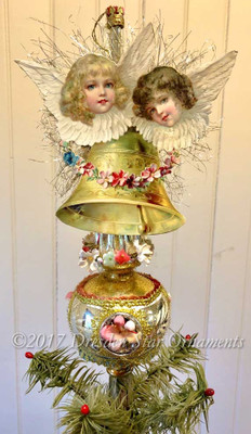 Cherub Angels and Bell on Glass Spire Ornament Adorned with Flowers