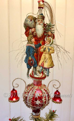 Santa with Children on Red Spire Topper with Bells