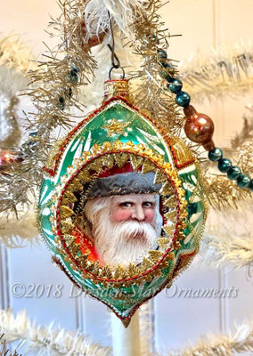 Jolly Santa on Large Oval Green Mid-Century Ornament Accented in Red and Gold