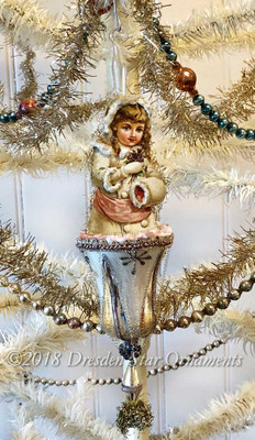 Reserved for Dennis – Snow Girl with Violets on Silver Glass Bell Ornament