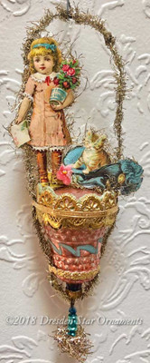 Little Girl with Kitty-Cat in Hat on Antique Bumpy Bell Ornament