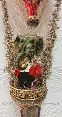Cigar Smoking Gentleman Elephant Riding Sequined Red Balloon with Antique Bell Basket