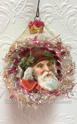 Reserved for Dennis – Santa with Red Coat in Frosted White and Green Indent Ornament