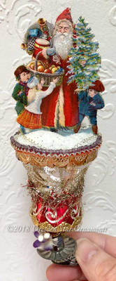 Reserved for Dennis – Santa with Children on Christmas Morning in Glass Bell Clip-On Ornament