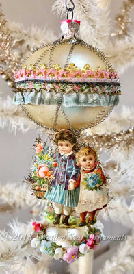Sweet Girls in Glass Double-Balloon Ornament with Silk Flowers