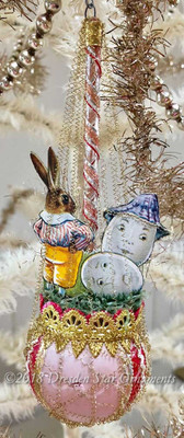 Rabbit With Animated Eggs on Antique Pastel Pink Sphere Ornament