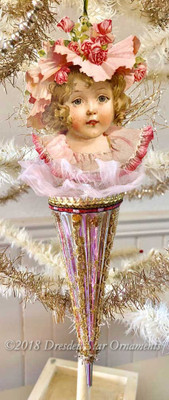 "Girl in Easter Hat with Ruffles on Large 10"" Antique Glass Parasol Ornament"