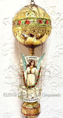 White Christmas Angel On Graceful Gold Double-Balloon Ornament