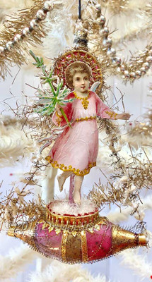 Christ-Child Angel with Tree on Antique Victorian Pink and Gold Ship with Original Pike