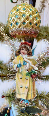 Snow Angel with Candle Under Gold Antique Molded Glass Clip-On Ornament with Rhinestones