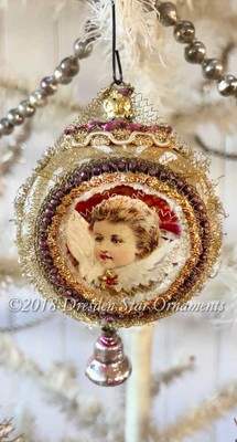 Cherub Angel in Fancy Antique Indent Ornament with Miniature Glass Bell