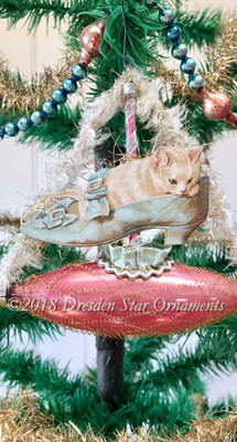 White Kitten/Cat in Victorian Lady's Shoe in Pink Glass Boat Ornament