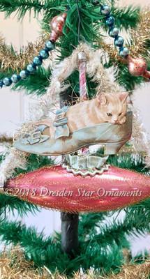 White Kitten/Cat in Victorian Lady's Shoe in Pink Glass Boat Ornament