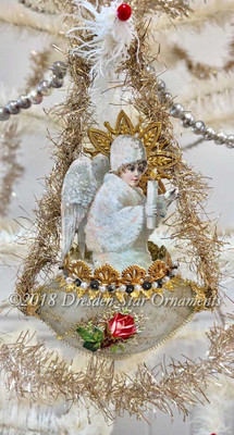 Snow Angel with Candle Riding Antique Unsilvered Oval Indent Ornament
