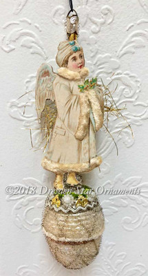 Snow Boy Angel with Chenille Coat on Antique Frosted Acorn Ornament