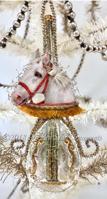 Exquisite Cream-White Horse on Lovely Decorated Mandolin Ornament