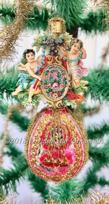 Victorian Era Mandolin Ornament with Angels and Intricate Flowers