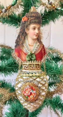 Pretty Victorian Lady in Orange Dress on Large Golden Pinecone Ornament