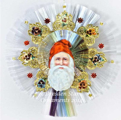 Santa with Red Hood on Double Spun-Glass Disks with Fan Design