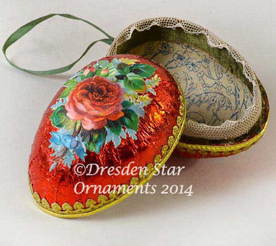 2-Sided Red Foiled Paper Egg Container with Red and Pink Roses