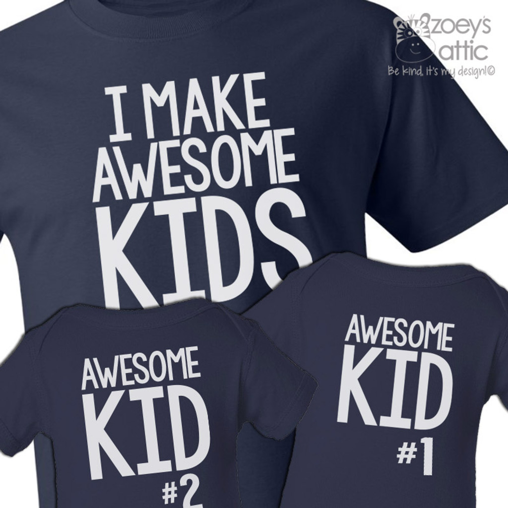 Personalized Mens Shirt Awesome Dad And Kids Three