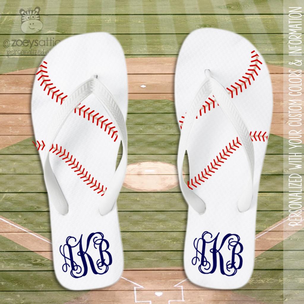 Baseball monogram flip flops