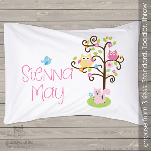 Woodland friends owls, squirrel, and birdie personalized pillowcase / pillow