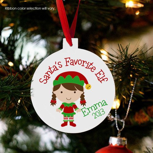 Holiday ornament santa's favorite elf girl or boy personalized Christmas ornament